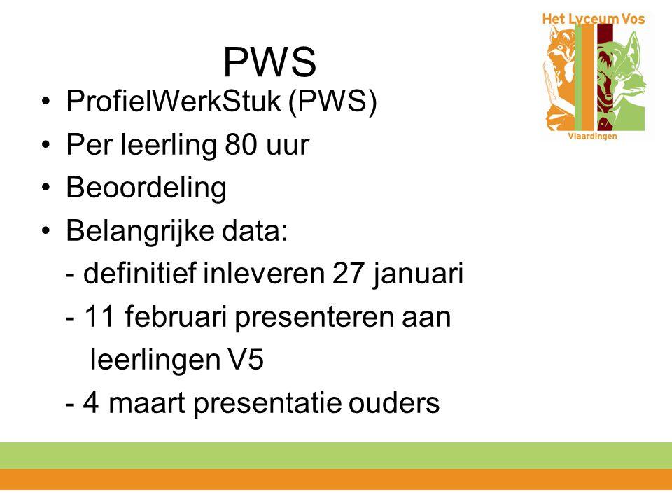 PWS ProfielWerkStuk (PWS) Per leerling 80 uur Beoordeling Belangrijke data: - definitief inleveren 27 januari - 11 februari presenteren aan leerlingen V5 - 4 maart presentatie ouders