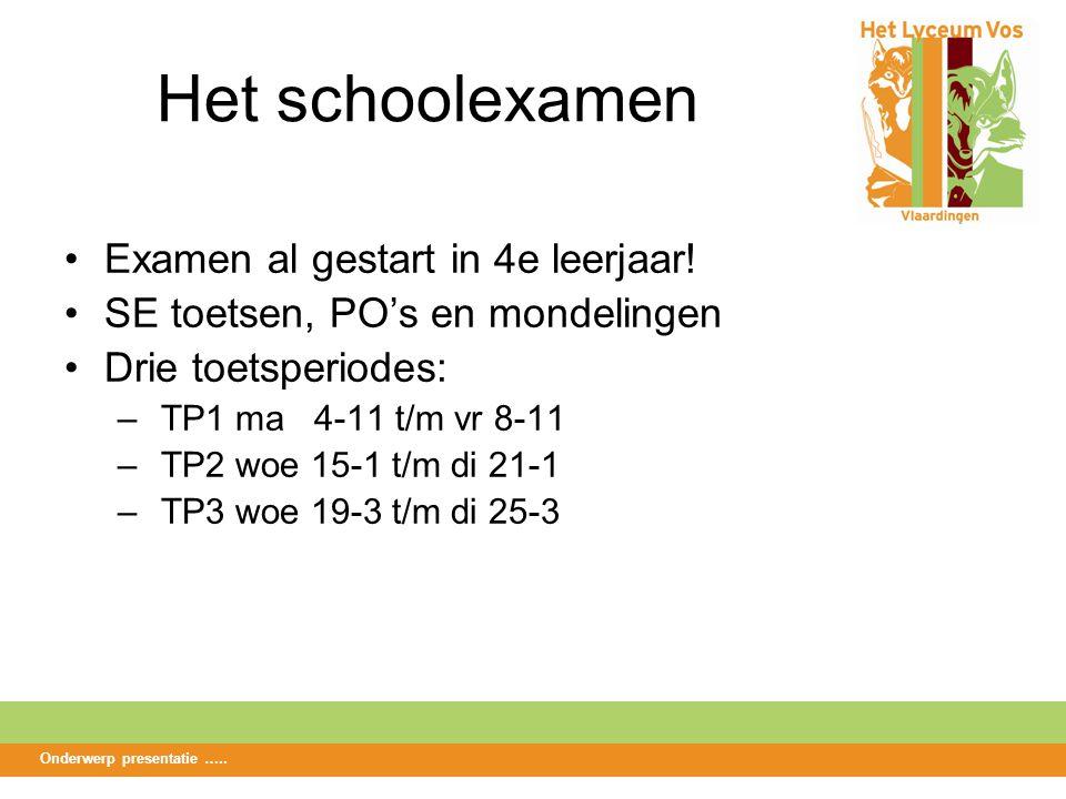 Het schoolexamen Examen al gestart in 4e leerjaar.