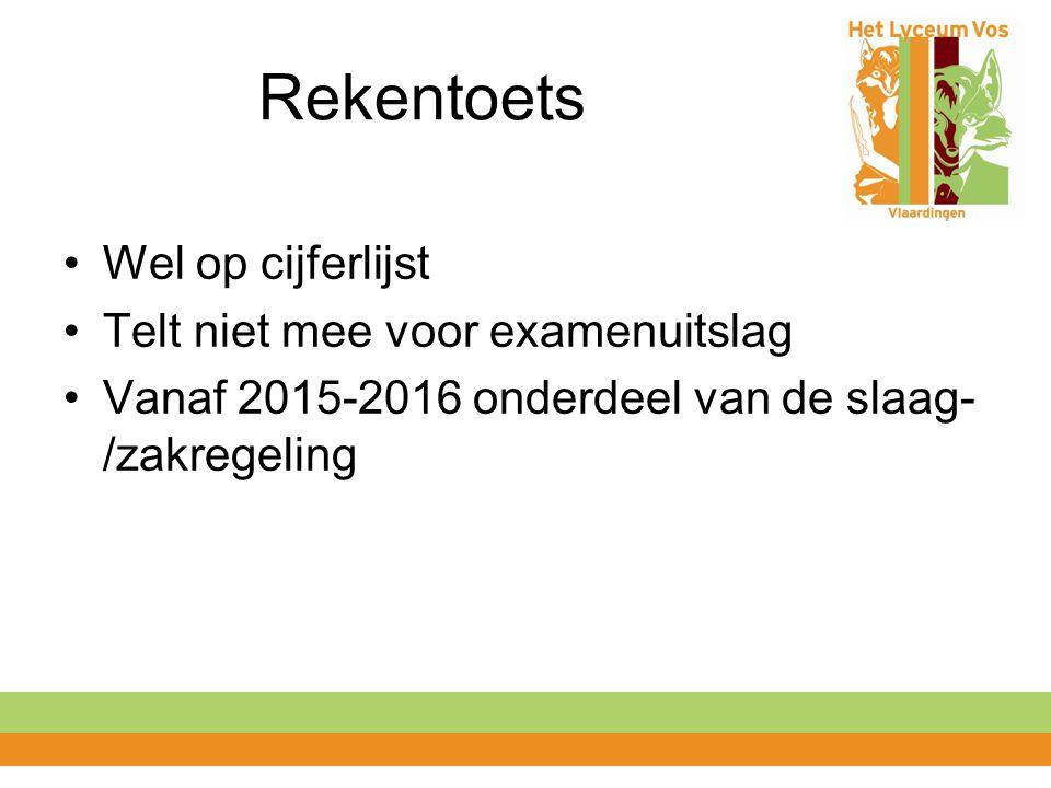 Rekentoets Wel op cijferlijst Telt niet mee voor examenuitslag Vanaf 2015-2016 onderdeel van de slaag- /zakregeling