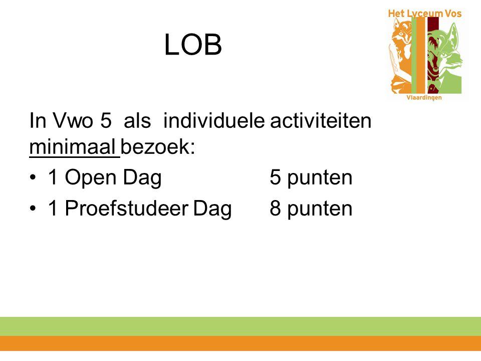 LOB In Vwo 5 als individuele activiteiten minimaal bezoek: 1 Open Dag 5 punten 1 Proefstudeer Dag 8 punten