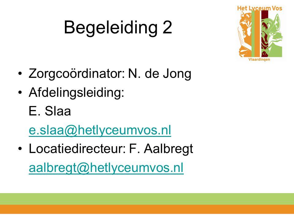 Begeleiding 2 Zorgcoördinator: N. de Jong Afdelingsleiding: E. Slaa e.slaa@hetlyceumvos.nl Locatiedirecteur: F. Aalbregt aalbregt@hetlyceumvos.nl
