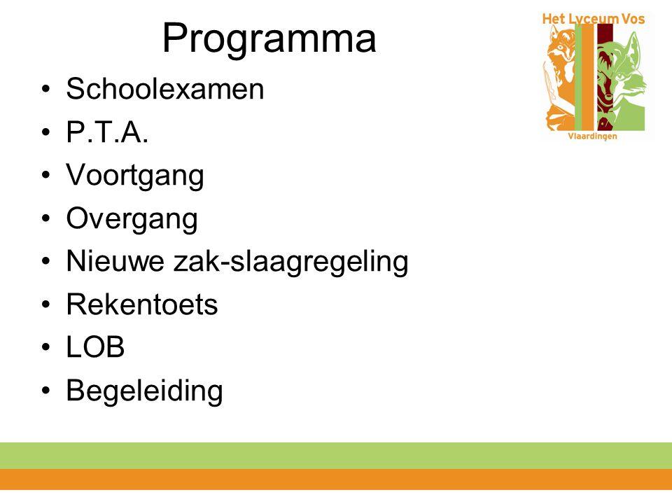Programma Schoolexamen P.T.A. Voortgang Overgang Nieuwe zak-slaagregeling Rekentoets LOB Begeleiding