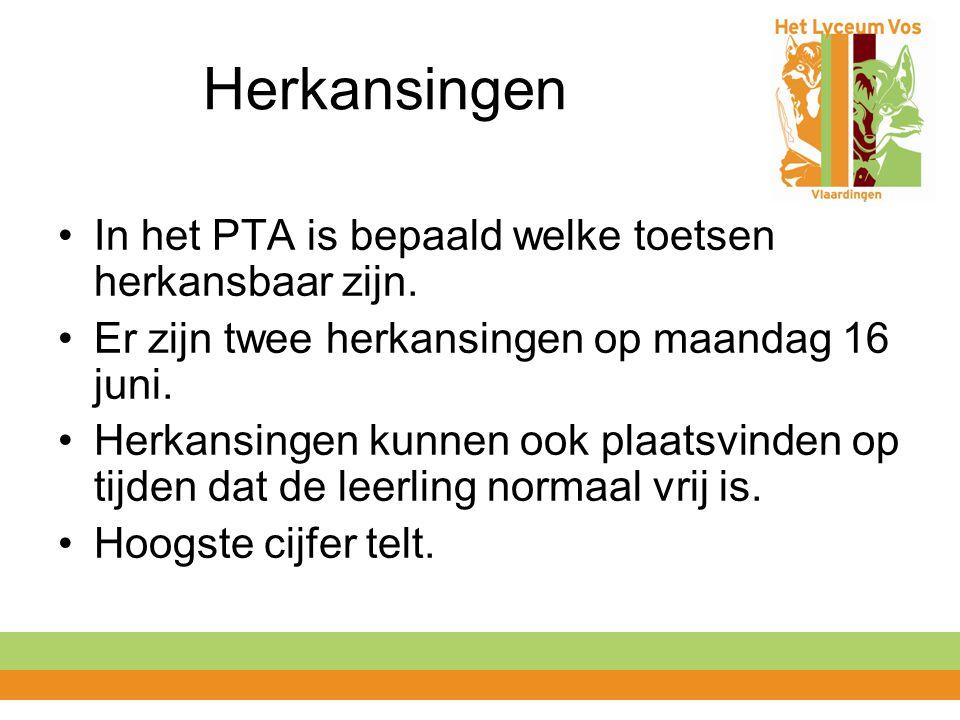 Herkansingen In het PTA is bepaald welke toetsen herkansbaar zijn. Er zijn twee herkansingen op maandag 16 juni. Herkansingen kunnen ook plaatsvinden