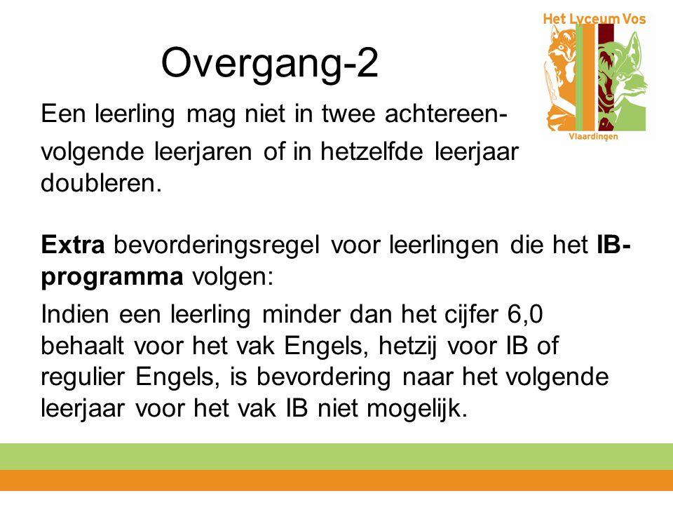 Overgang-2 Een leerling mag niet in twee achtereen- volgende leerjaren of in hetzelfde leerjaar doubleren. Extra bevorderingsregel voor leerlingen die