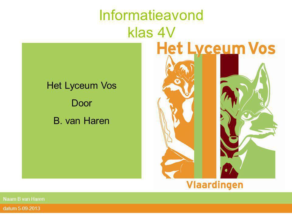 Informatieavond klas 4V Het Lyceum Vos Door B. van Haren Naam B van Haren datum 5-09-2013