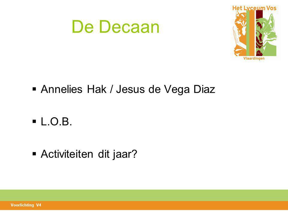 De Decaan  Annelies Hak / Jesus de Vega Diaz  L.O.B.  Activiteiten dit jaar? Voorlichting V4