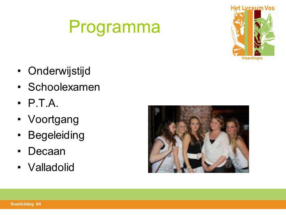 Programma Onderwijstijd Schoolexamen P.T.A. Voortgang Begeleiding Decaan Valladolid Voorlichting V4