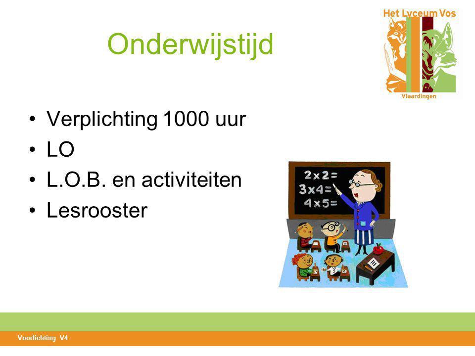 Onderwijstijd Verplichting 1000 uur LO L.O.B. en activiteiten Lesrooster Voorlichting V4