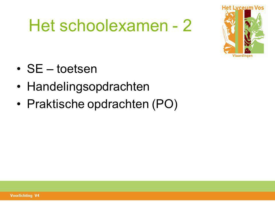 Het schoolexamen - 2 SE – toetsen Handelingsopdrachten Praktische opdrachten (PO) Voorlichting V4