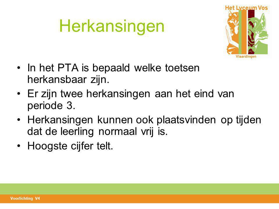 Herkansingen In het PTA is bepaald welke toetsen herkansbaar zijn.