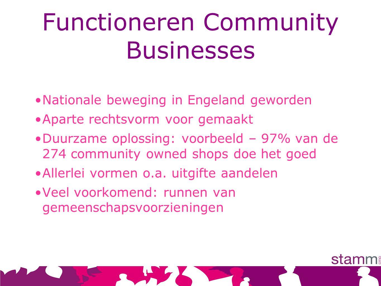 Functioneren Community Businesses Nationale beweging in Engeland geworden Aparte rechtsvorm voor gemaakt Duurzame oplossing: voorbeeld – 97% van de 274 community owned shops doe het goed Allerlei vormen o.a.