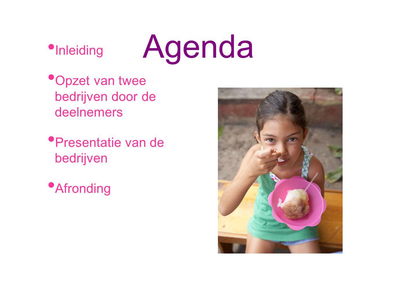 Agenda Inleiding Opzet van twee bedrijven door de deelnemers Presentatie van de bedrijven Afronding