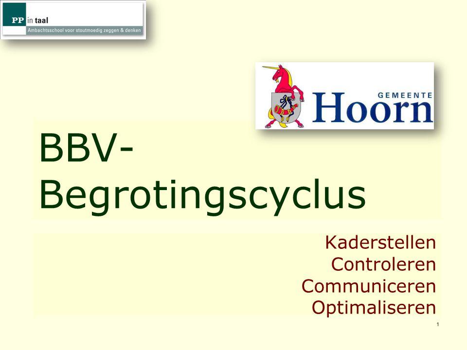 1 BBV- Begrotingscyclus Kaderstellen Controleren Communiceren Optimaliseren