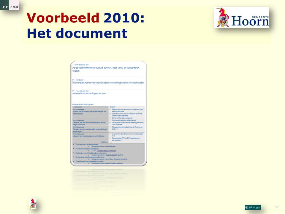 17 Voorbeeld 2010: Het document
