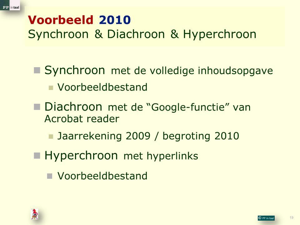 19 Voorbeeld 2010 Synchroon & Diachroon & Hyperchroon Synchroon met de volledige inhoudsopgave Voorbeeldbestand Diachroon met de Google-functie van Acrobat reader Jaarrekening 2009 / begroting 2010 Hyperchroon met hyperlinks Voorbeeldbestand