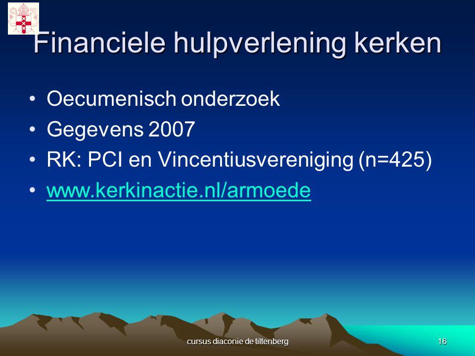 cursus diaconie de tiltenberg16 Financiele hulpverlening kerken Oecumenisch onderzoek Gegevens 2007 RK: PCI en Vincentiusvereniging (n=425) www.kerkinactie.nl/armoede