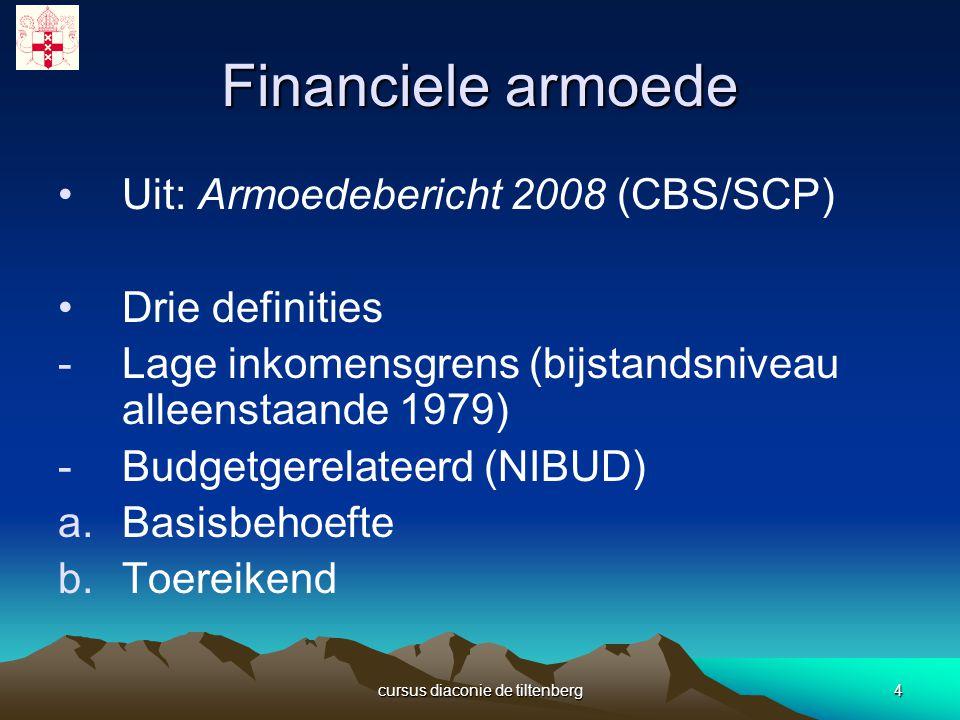 cursus diaconie de tiltenberg4 Financiele armoede Uit: Armoedebericht 2008 (CBS/SCP) Drie definities -Lage inkomensgrens (bijstandsniveau alleenstaande 1979) -Budgetgerelateerd (NIBUD) a.Basisbehoefte b.Toereikend