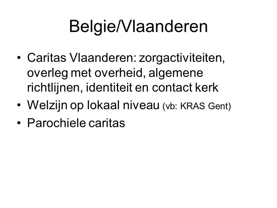 Belgie/Vlaanderen Caritas Vlaanderen: zorgactiviteiten, overleg met overheid, algemene richtlijnen, identiteit en contact kerk Welzijn op lokaal niveau (vb: KRAS Gent) Parochiele caritas