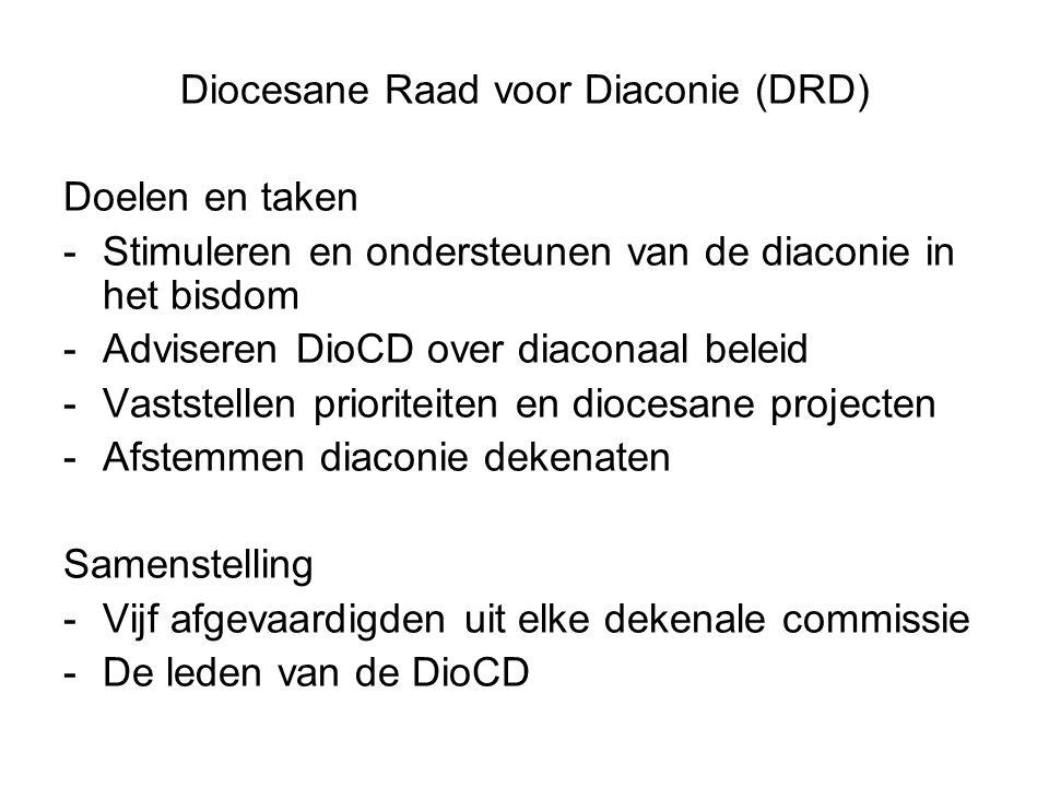 Diocesane Raad voor Diaconie (DRD) Doelen en taken -Stimuleren en ondersteunen van de diaconie in het bisdom -Adviseren DioCD over diaconaal beleid -Vaststellen prioriteiten en diocesane projecten -Afstemmen diaconie dekenaten Samenstelling -Vijf afgevaardigden uit elke dekenale commissie -De leden van de DioCD