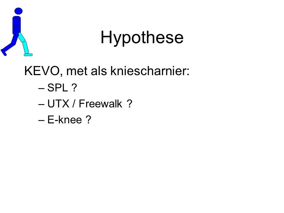 Hypothese KEVO, met als kniescharnier: –SPL ? –UTX / Freewalk ? –E-knee ?