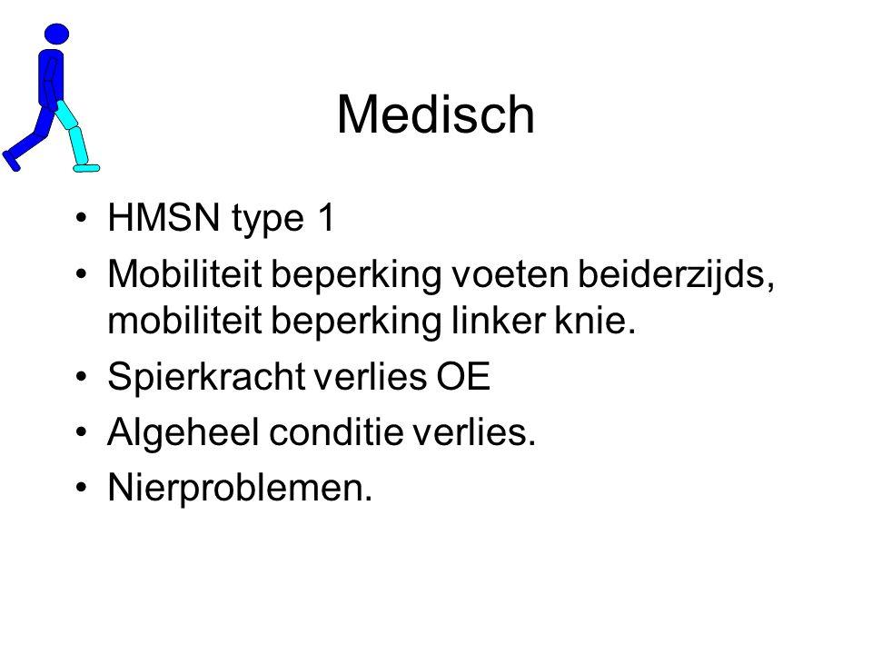 Medisch HMSN type 1 Mobiliteit beperking voeten beiderzijds, mobiliteit beperking linker knie.