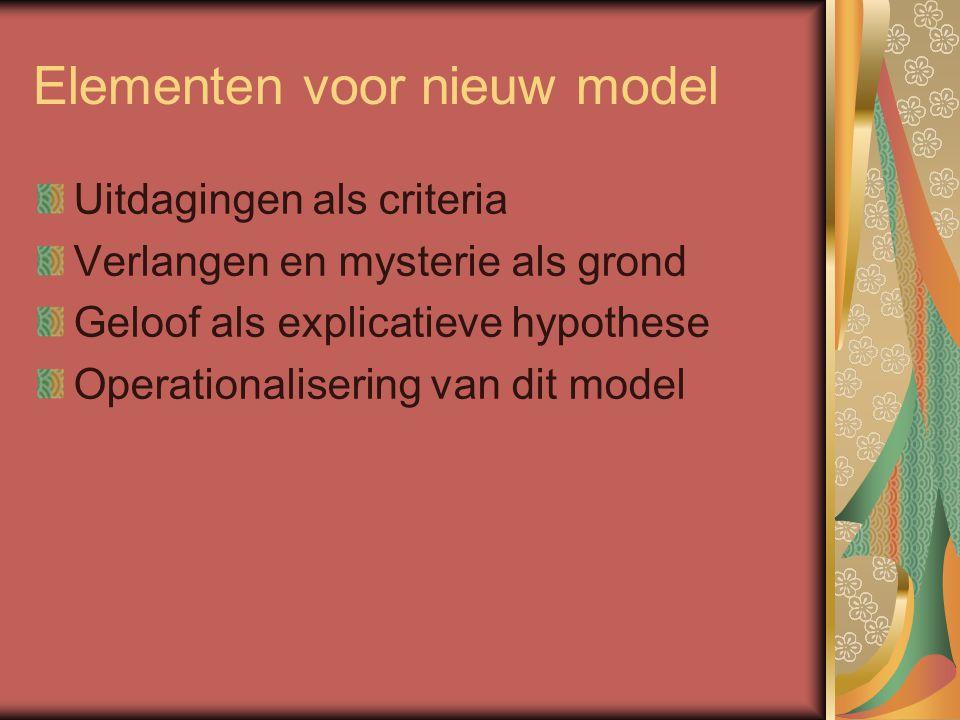 Elementen voor nieuw model Uitdagingen als criteria Verlangen en mysterie als grond Geloof als explicatieve hypothese Operationalisering van dit model