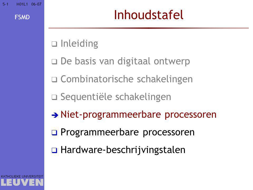 FSMD KATHOLIEKE UNIVERSITEIT 5-15-106–07H01L1 Inhoudstafel  Inleiding  De basis van digitaal ontwerp  Combinatorische schakelingen  Sequentiële schakelingen  Niet-programmeerbare processoren  Programmeerbare processoren  Hardware-beschrijvingstalen