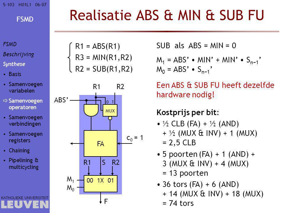 FSMD KATHOLIEKE UNIVERSITEIT 5-10306–07H01L1 Realisatie ABS & MIN & SUB FU FA R1 c 0 = 1 R2 R1R2 00 1X 01 M1M0M1M0 F S Kostprijs per bit: ½ CLB (FA) + ½ (AND) + ½ (MUX & INV) + 1 (MUX) = 2,5 CLB 5 poorten (FA) + 1 (AND) + 3 (MUX & INV) + 4 (MUX) = 13 poorten 36 tors (FA) + 6 (AND) + 14 (MUX & INV) + 18 (MUX) = 74 tors MUX ABS' SUBals ABS = MIN = 0 M 1 = ABS' MIN' + MIN' S n−1 ' M 0 = ABS' S n−1 ' R1 = ABS(R1) R3 = MIN(R1,R2) R2 = SUB(R1,R2) 0 1 Een ABS & SUB FU heeft dezelfde hardware nodig.