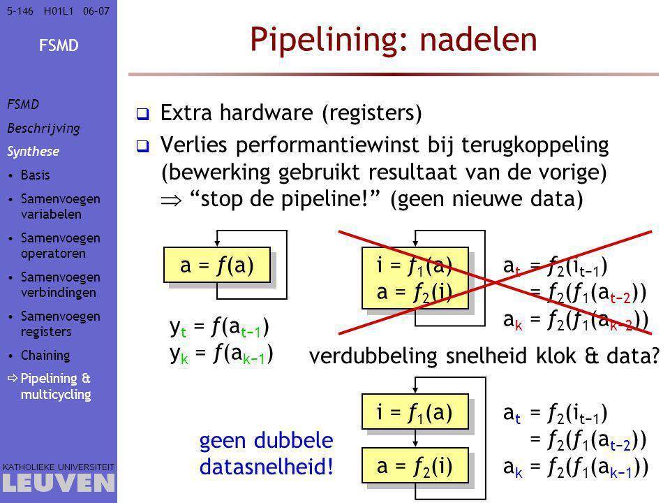 FSMD KATHOLIEKE UNIVERSITEIT 5-14606–07H01L1 Pipelining: nadelen  Extra hardware (registers)  Verlies performantiewinst bij terugkoppeling (bewerking gebruikt resultaat van de vorige)  stop de pipeline! (geen nieuwe data) a = f(a) y t = f(a t−1 ) y k = f(a k−1 ) i = f 1 (a) a = f 2 (i) i = f 1 (a) a = f 2 (i) a t = f 2 (i t−1 ) = f 2 (f 1 (a t−2 )) a k = f 2 (f 1 (a k−2 )) verdubbeling snelheid klok & data.