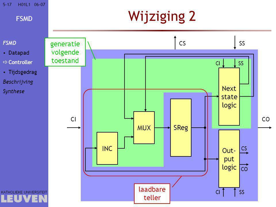 FSMD KATHOLIEKE UNIVERSITEIT 5-1706–07H01L1 Wijziging 2 SReg Next state logic Out- put logic CI SS CICO CSSS MUX INC generatie volgende toestand CS CO