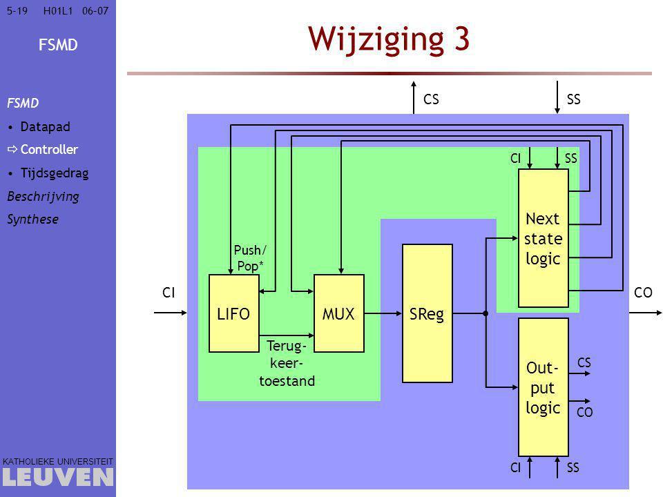 FSMD KATHOLIEKE UNIVERSITEIT 5-1906–07H01L1 Wijziging 3 SReg Next state logic Out- put logic CI SS CICO CSSS MUXLIFO Push/ Pop* Terug- keer- toestand