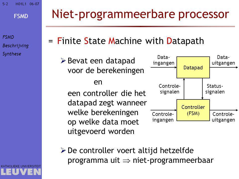 FSMD KATHOLIEKE UNIVERSITEIT 5-25-206–07H01L1 Niet-programmeerbare processor =Finite State Machine with Datapath  Bevat een datapad voor de berekenin