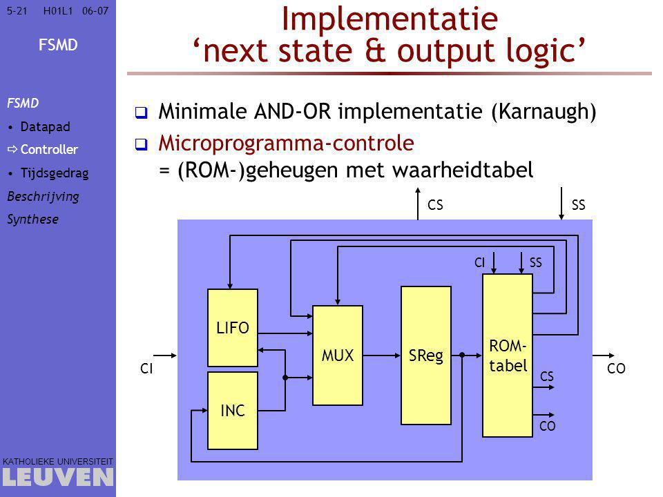 FSMD KATHOLIEKE UNIVERSITEIT 5-2106–07H01L1 Implementatie 'next state & output logic'  Minimale AND-OR implementatie (Karnaugh)  Microprogramma-controle = (ROM-)geheugen met waarheidtabel ROM- tabel CISS CICO CSSS MUX LIFO SReg INC CS CO FSMD Datapad  Controller Tijdsgedrag Beschrijving Synthese