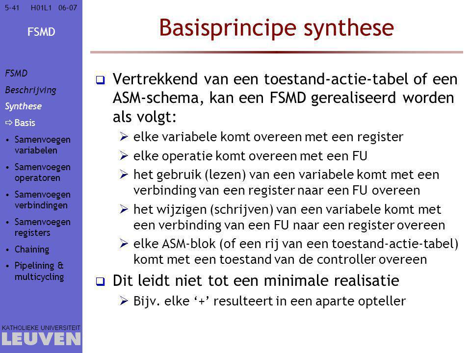 FSMD KATHOLIEKE UNIVERSITEIT 5-4106–07H01L1 Basisprincipe synthese  Vertrekkend van een toestand-actie-tabel of een ASM-schema, kan een FSMD gerealis