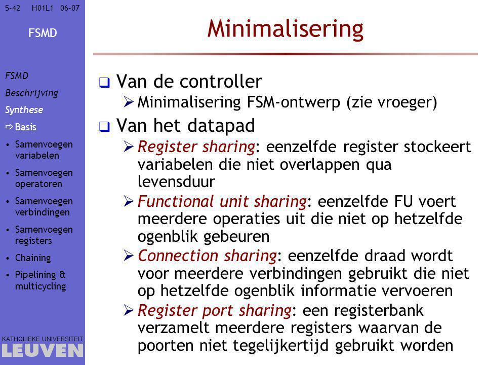 FSMD KATHOLIEKE UNIVERSITEIT 5-4206–07H01L1 Minimalisering  Van de controller  Minimalisering FSM-ontwerp (zie vroeger)  Van het datapad  Register