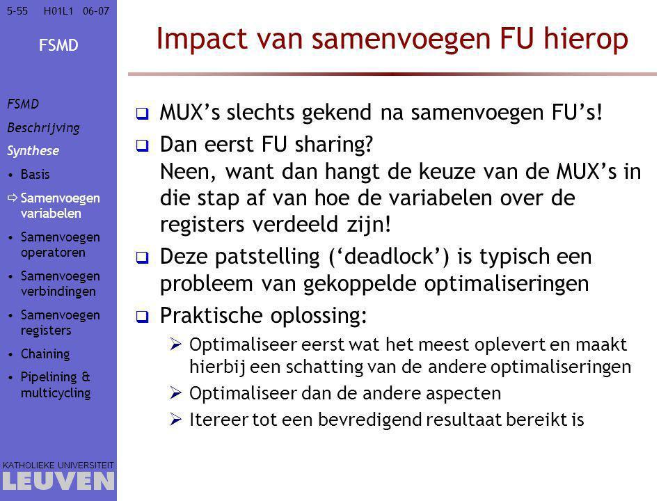 FSMD KATHOLIEKE UNIVERSITEIT 5-5506–07H01L1 Impact van samenvoegen FU hierop  MUX's slechts gekend na samenvoegen FU's!  Dan eerst FU sharing? Neen,