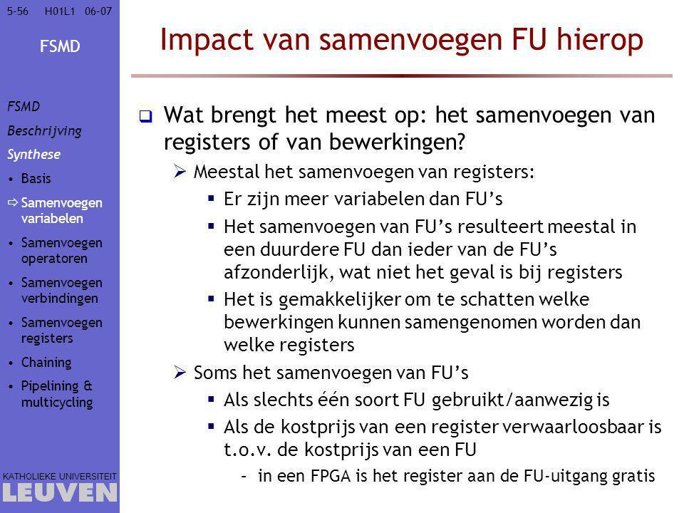 FSMD KATHOLIEKE UNIVERSITEIT 5-5606–07H01L1 Impact van samenvoegen FU hierop  Wat brengt het meest op: het samenvoegen van registers of van bewerkingen.