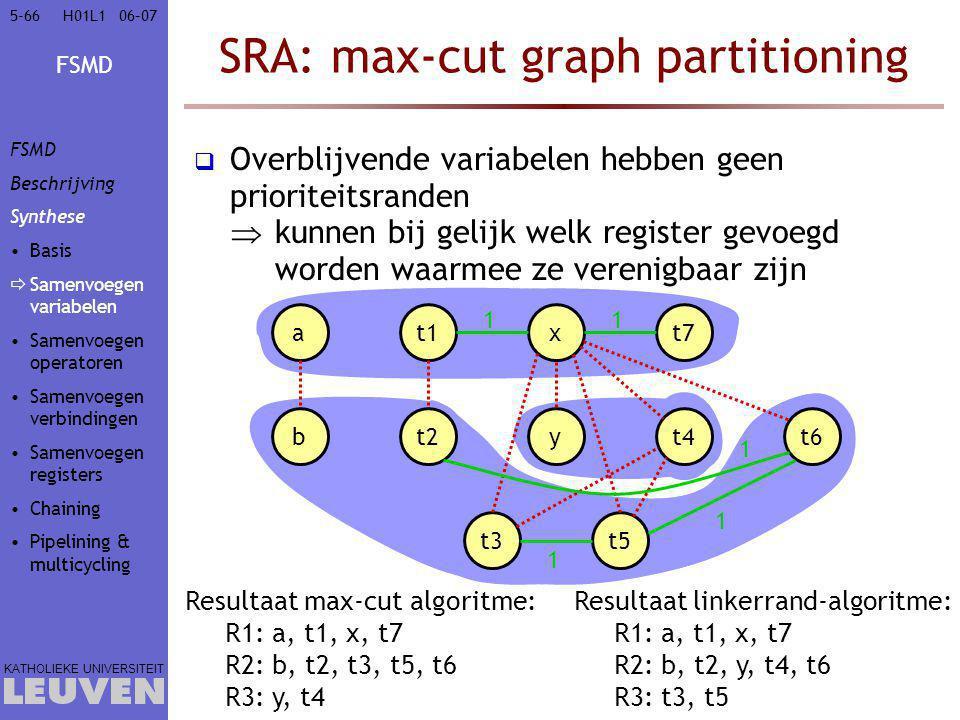 FSMD KATHOLIEKE UNIVERSITEIT 5-6606–07H01L1 SRA: max-cut graph partitioning  Overblijvende variabelen hebben geen prioriteitsranden  kunnen bij gelijk welk register gevoegd worden waarmee ze verenigbaar zijn at1xt7 bt2yt4t6 t3t5 1 1 1 1 1 Resultaat linkerrand-algoritme: R1: a, t1, x, t7 R2: b, t2, y, t4, t6 R3: t3, t5 Resultaat max-cut algoritme: R1: a, t1, x, t7 R2: b, t2, t3, t5, t6 R3: y, t4 FSMD Beschrijving Synthese Basis  Samenvoegen variabelen Samenvoegen operatoren Samenvoegen verbindingen Samenvoegen registers Chaining Pipelining & multicycling