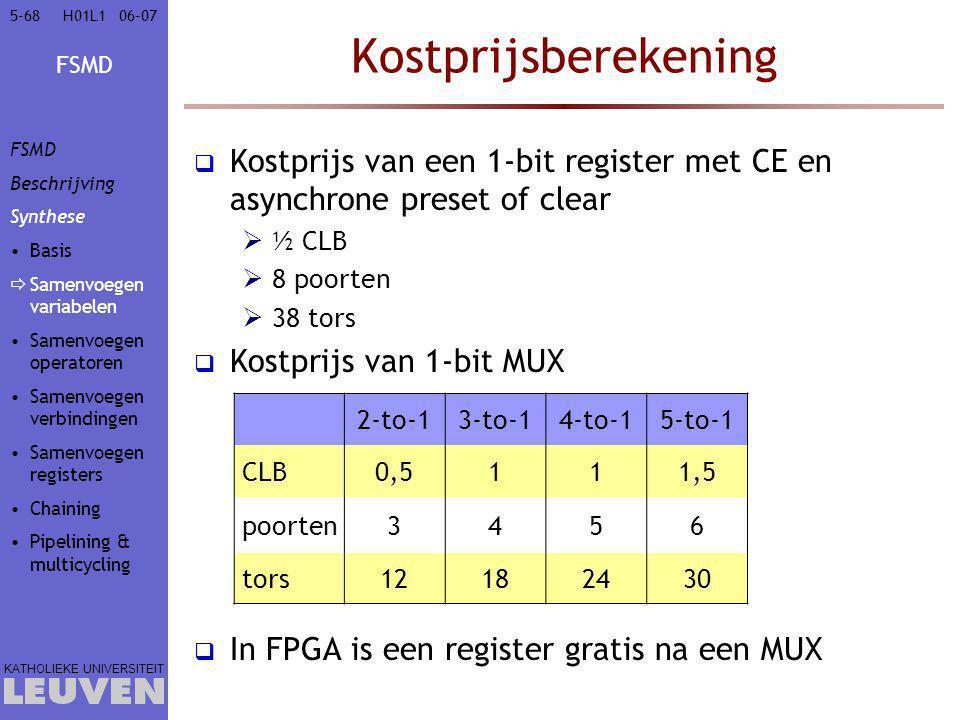 FSMD KATHOLIEKE UNIVERSITEIT 5-6806–07H01L1 Kostprijsberekening  Kostprijs van een 1-bit register met CE en asynchrone preset of clear  ½ CLB  8 po