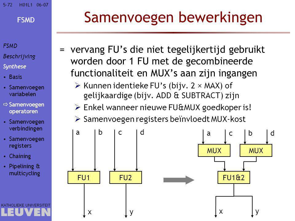 FSMD KATHOLIEKE UNIVERSITEIT 5-7206–07H01L1 Samenvoegen bewerkingen =vervang FU's die niet tegelijkertijd gebruikt worden door 1 FU met de gecombineerde functionaliteit en MUX's aan zijn ingangen  Kunnen identieke FU's (bijv.