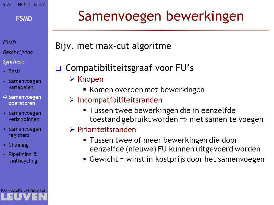 FSMD KATHOLIEKE UNIVERSITEIT 5-7306–07H01L1 Samenvoegen bewerkingen Bijv. met max-cut algoritme  Compatibiliteitsgraaf voor FU's  Knopen  Komen ove