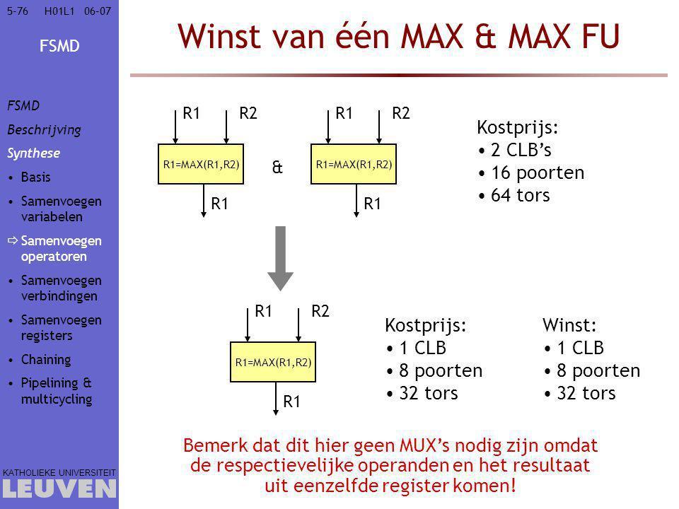 FSMD KATHOLIEKE UNIVERSITEIT 5-7606–07H01L1 Winst van één MAX & MAX FU R1=MAX(R1,R2) R1R2 R1 R1=MAX(R1,R2) R1R2 R1 & Kostprijs: 2 CLB's 16 poorten 64 tors Winst: 1 CLB 8 poorten 32 tors Bemerk dat dit hier geen MUX's nodig zijn omdat de respectievelijke operanden en het resultaat uit eenzelfde register komen.