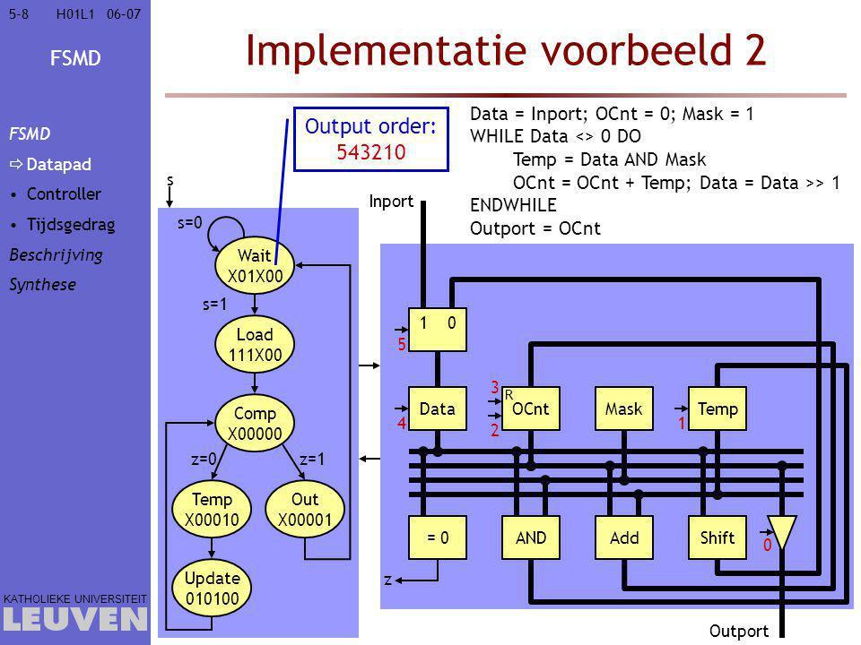 FSMD KATHOLIEKE UNIVERSITEIT 5-85-806–07H01L1 Implementatie voorbeeld 2 Data = Inport; OCnt = 0; Mask = 1 WHILE Data <> 0 DO Temp = Data AND Mask OCnt = OCnt + Temp; Data = Data >> 1 ENDWHILE Outport = OCnt s=0 s DataOCnt R MaskTemp Data = Inport; OCnt = 0; Mask = 1 WHILE Data <> 0 DO Temp = Data AND Mask OCnt = OCnt + Temp; Data = Data >> 1 ENDWHILE Outport = OCnt = 0ANDAddShift Data = Inport; OCnt = 0; Mask = 1 WHILE Data <> 0 DO Temp = Data AND Mask OCnt = OCnt + Temp; Data = Data >> 1 ENDWHILE Outport = OCnt Load 111X00 s=1 Comp X00000 10 Inport Data = Inport; OCnt = 0; Mask = 1 WHILE Data <> 0 DO Temp = Data AND Mask OCnt = OCnt + Temp; Data = Data >> 1 ENDWHILE Outport = OCnt Data = Inport; OCnt = 0; Mask = 1 WHILE Data <> 0 DO Temp = Data AND Mask OCnt = OCnt + Temp; Data = Data >> 1 ENDWHILE Outport = OCnt z Data = Inport; OCnt = 0; Mask = 1 WHILE Data <> 0 DO Temp = Data AND Mask OCnt = OCnt + Temp; Data = Data >> 1 ENDWHILE Outport = OCnt Data = Inport; OCnt = 0; Mask = 1 WHILE Data <> 0 DO Temp = Data AND Mask OCnt = OCnt + Temp; Data = Data >> 1 ENDWHILE Outport = OCnt Outport Data = Inport; OCnt = 0; Mask = 1 WHILE Data <> 0 DO Temp = Data AND Mask OCnt = OCnt + Temp; Data = Data >> 1 ENDWHILE Outport = OCnt 0 1 2 3 4 5 Wait X01X00 Data = Inport; OCnt = 0; Mask = 1 WHILE Data <> 0 DO Temp = Data AND Mask OCnt = OCnt + Temp; Data = Data >> 1 ENDWHILE Outport = OCnt Temp X00010 z=0 Update 010100 Out X00001 z=1 Output order: 543210 FSMD  Datapad Controller Tijdsgedrag Beschrijving Synthese
