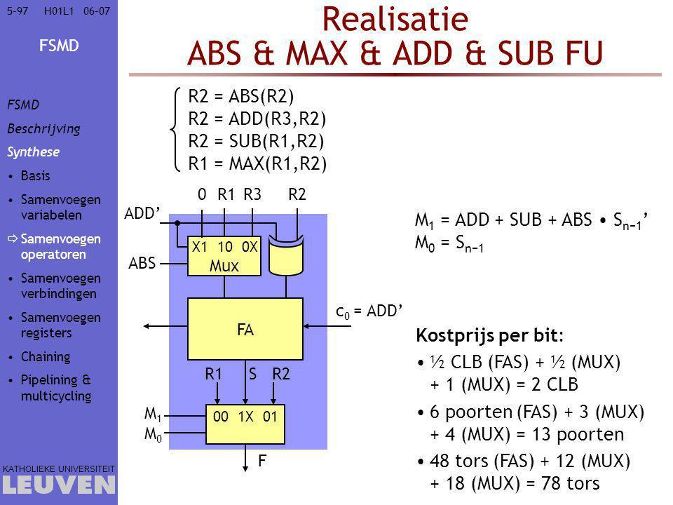 FSMD KATHOLIEKE UNIVERSITEIT 5-9706–07H01L1 Realisatie ABS & MAX & ADD & SUB FU FA R1R2 R1R2 00 1X 01 M1M0M1M0 F S Kostprijs per bit: ½ CLB (FAS) + ½ (MUX) + 1 (MUX) = 2 CLB 6 poorten (FAS) + 3 (MUX) + 4 (MUX) = 13 poorten 48 tors (FAS) + 12 (MUX) + 18 (MUX) = 78 tors X1 10 0X Mux R3 ABS 0 M 1 = ADD + SUB + ABS S n−1 ' M 0 = S n−1 R2 = ABS(R2) R2 = ADD(R3,R2) R2 = SUB(R1,R2) R1 = MAX(R1,R2) ADD' c 0 = ADD' FSMD Beschrijving Synthese Basis Samenvoegen variabelen  Samenvoegen operatoren Samenvoegen verbindingen Samenvoegen registers Chaining Pipelining & multicycling