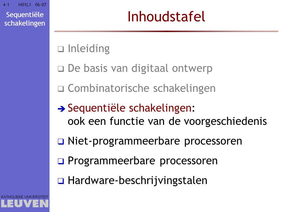 Sequentiële schakelingen KATHOLIEKE UNIVERSITEIT 4-14-106–07H01L1 Inhoudstafel  Inleiding  De basis van digitaal ontwerp  Combinatorische schakelin