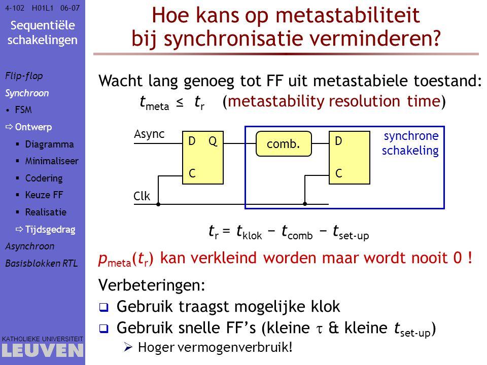 Sequentiële schakelingen KATHOLIEKE UNIVERSITEIT 4-10206–07H01L1 Hoe kans op metastabiliteit bij synchronisatie verminderen? t r = t klok − t comb − t