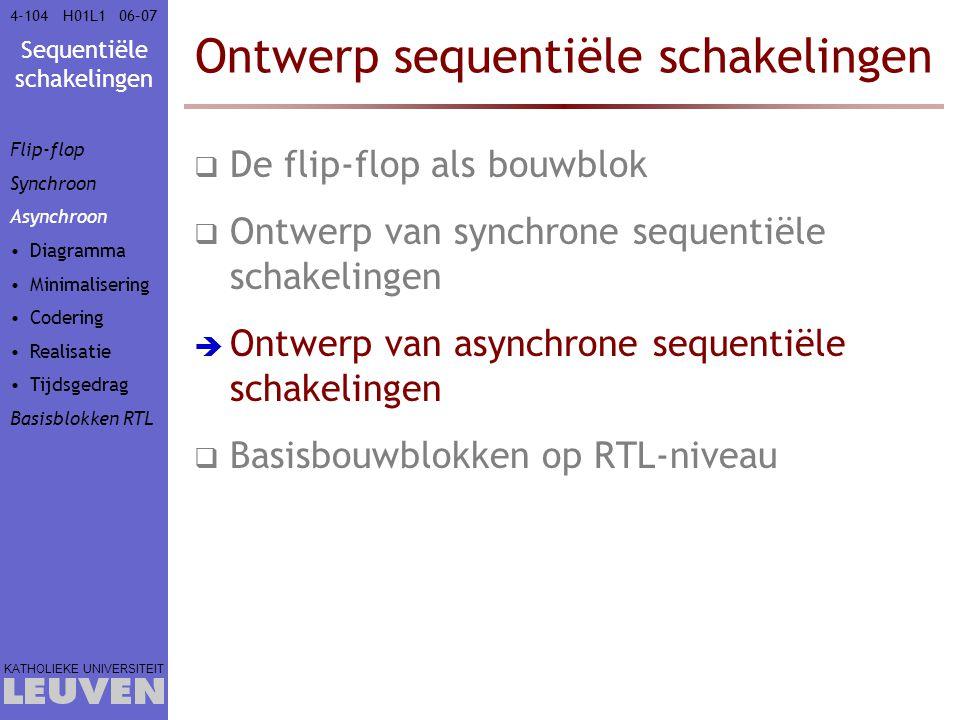 Sequentiële schakelingen KATHOLIEKE UNIVERSITEIT 4-10406–07H01L1 Ontwerp sequentiële schakelingen  De flip-flop als bouwblok  Ontwerp van synchrone