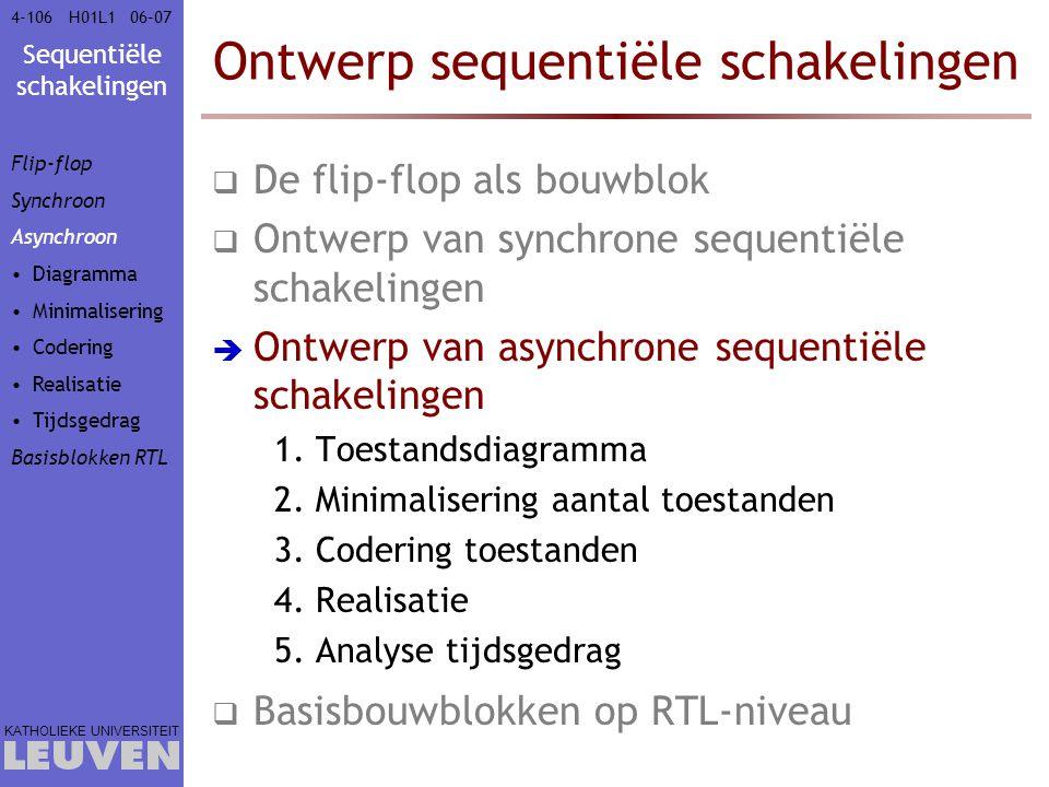 Sequentiële schakelingen KATHOLIEKE UNIVERSITEIT 4-10606–07H01L1 Ontwerp sequentiële schakelingen  De flip-flop als bouwblok  Ontwerp van synchrone