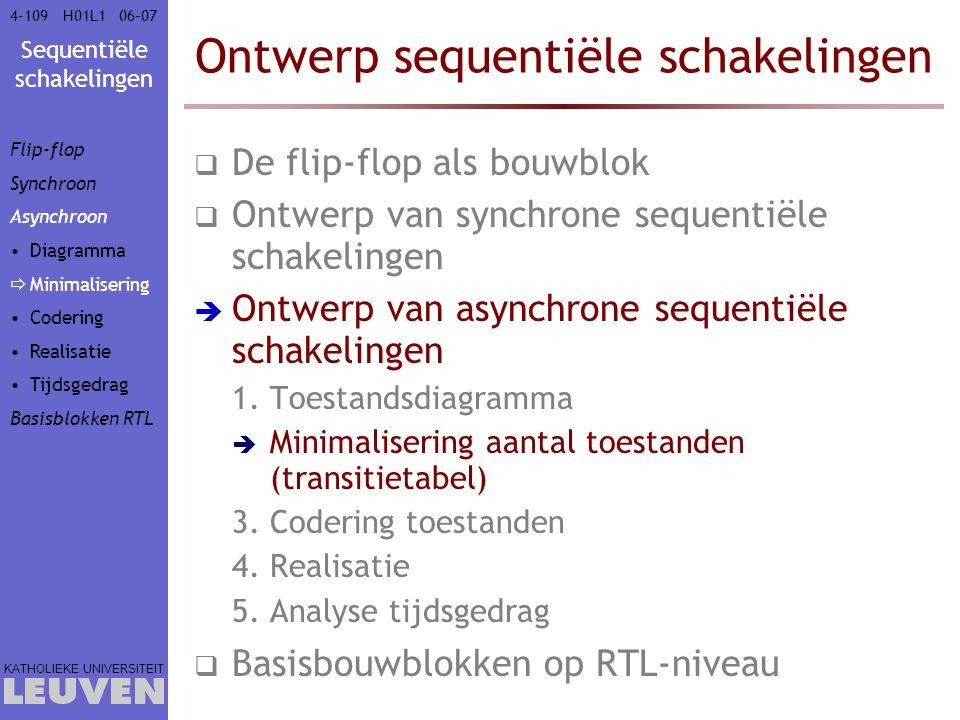 Sequentiële schakelingen KATHOLIEKE UNIVERSITEIT 4-10906–07H01L1 Ontwerp sequentiële schakelingen  De flip-flop als bouwblok  Ontwerp van synchrone