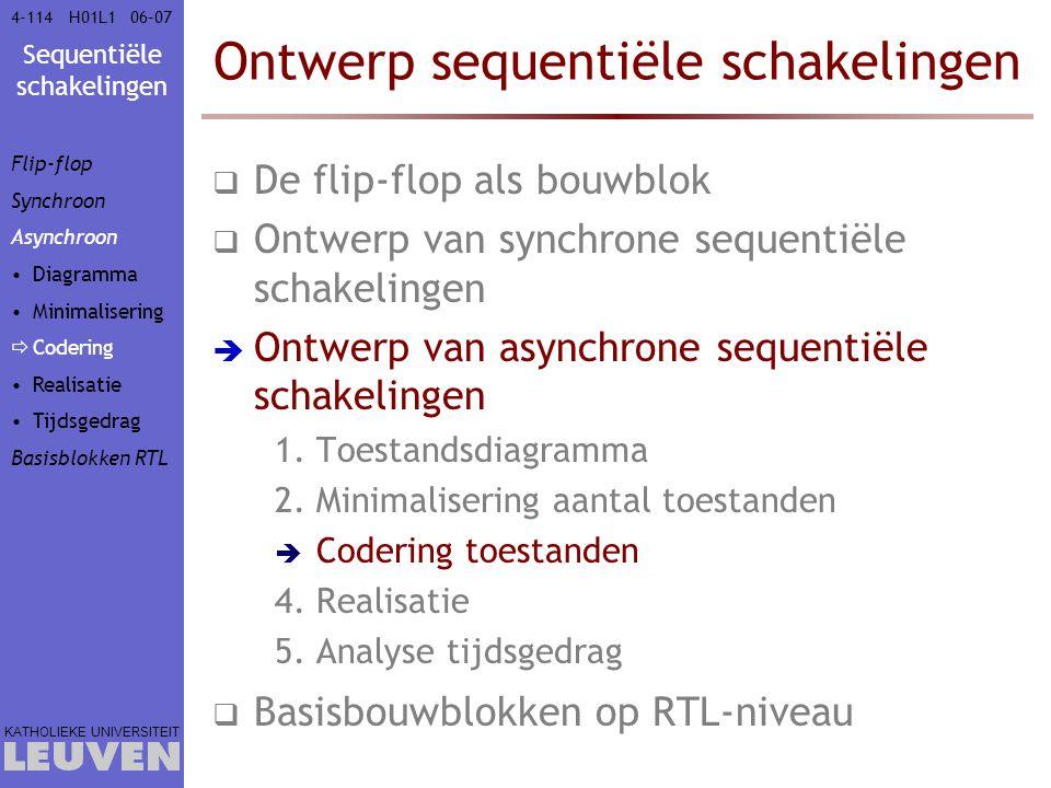 Sequentiële schakelingen KATHOLIEKE UNIVERSITEIT 4-11406–07H01L1 Ontwerp sequentiële schakelingen  De flip-flop als bouwblok  Ontwerp van synchrone
